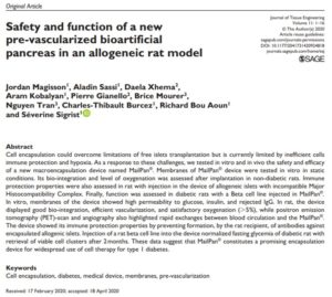MailPan® scientific paper by Defymed: safety and function of a new pre-vascularized bioartificial pancreas in an allogeneic rat model